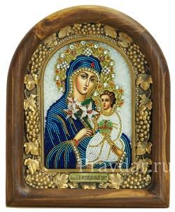 Неувядаемый цвет образ Божией Матери, дивеевская икона из бисера ручной работы - фото 5138