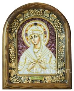 Семистрельная образ Божией Матери, дивеевская икона из бисера и натуральных камней - фото 5140