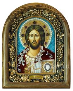 Господь Вседержитель, дивеевская икона из бисера и натуральных камней - фото 5288