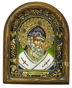 Спиридон Тримифунтский, дивеевская икона из бисера и натуральных камней - фото 5291