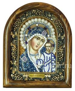 Казанская Божья Матерь, дивеевская икона из бисера и натуральных камней - фото 5304
