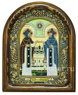 Святые Петр и Феврония, дивеевская икона из бисера ручной работы - фото 5368