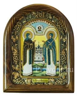 Святые Петр и Феврония, дивеевская икона из бисера ручной работы - фото 5370