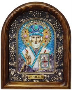 Николай Чудотворец, дивеевская икона из бисера и натуральных камней - фото 5385