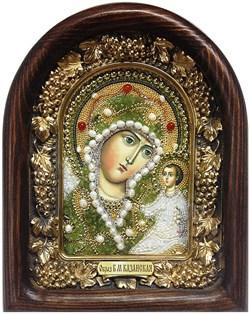 Казанская Божья Матерь, дивеевская икона из бисера и натуральных камней - фото 5389