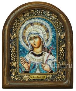 Галина Святая мученица, дивеевская икона из бисера с жемчугом - фото 5394