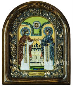Святые Петр и Феврония, дивеевская икона из бисера и натуральных камней - фото 5433