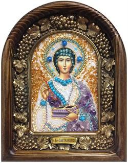 Пантелеймон Святой Великомученик, дивеевская икона из бисера ручной работы - фото 5443