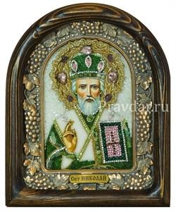 Николай Чудотворец, дивеевская икона из бисера и натуральных камней - фото 5496