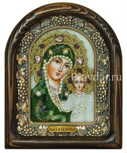 Казанская Божья Матерь, дивеевская икона из бисера и натуральных камней - фото 5498