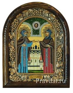 Святые Петр и Феврония, дивеевская икона из бисера ручной работы - фото 5931