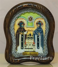Святые Петр и Феврония, дивеевская икона из бисера ручной работы - фото 5936