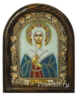 Ангелина Сербская Блаженная, дивеевская икона из бисера - фото 5938