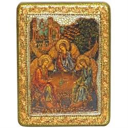 Троица икона в авторском стиле на мореном дубе - фото 6298