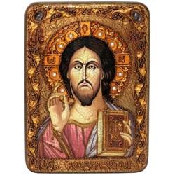 Господь Вседержитель икона в авторском стиле на мореном дубе - фото 6363