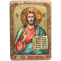 Господь Вседержитель икона в авторском стиле на мореном дубе (большая) - фото 6369