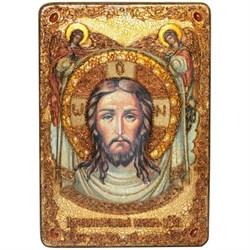 Спас Нерукотворный, икона в авторском стиле на мореном дубе (большая) - фото 6417