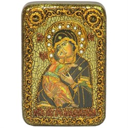 Владимирская Божья Матерь, икона на мореном дубе - фото 6501
