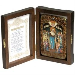 Всех Скорбящих Радость с грошиками, образ Божьей Матери, икона на мореном дубе - фото 6521