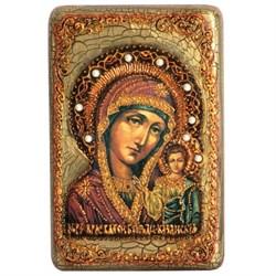 Казанская икона Божьей Матери в авторском стиле на мореном дубе - фото 6593