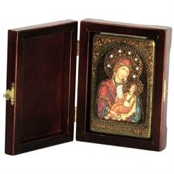 Утоли моя печали образ Божией Матери, икона в авторском стиле на мореном дубе  - фото 6724