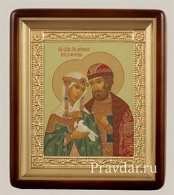 Петр и Феврония икона в киоте 24х29 см - фото 6743