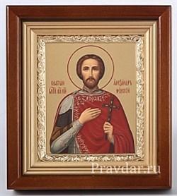 Александр Невский, икона в киоте 16х19 см - фото 6846