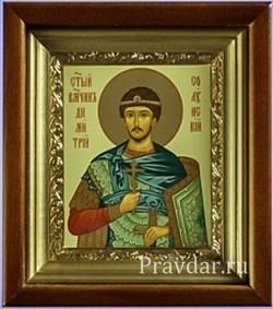 Дмитрий Солунский, икона в киоте 16х19 см - фото 6872