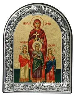 Вера, Надежда, Любовь и мать их Софья, икона с серебряной рамкой - фото 6924