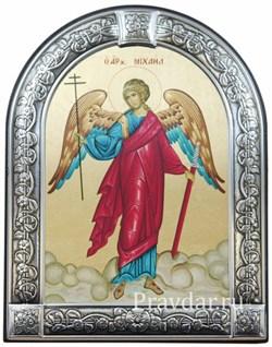 Архангел Михаил, икона с серебряной рамкой - фото 6978