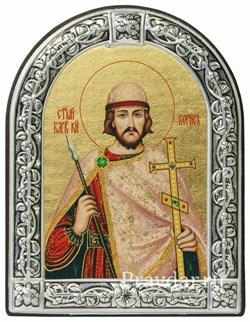 Борис Святой князь, икона с серебряной рамкой - фото 6980