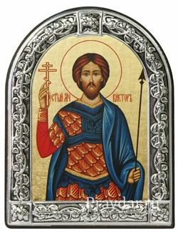 Виктор Святой мученик, икона с серебряной рамкой - фото 6984