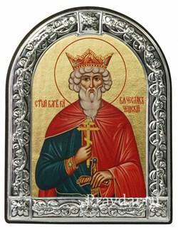 Вячеслав Святой князь, икона с серебряной рамкой - фото 6989
