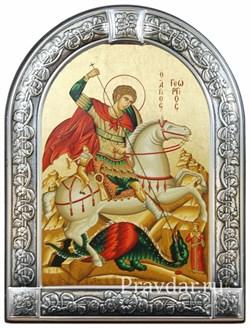Георгий Победоносец, икона с серебряной рамкой - фото 6991