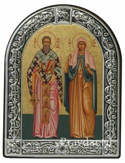 Киприан и Иустиния Святые, икона с серебряной рамкой - фото 6999
