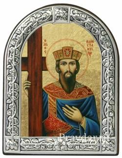 Константин Великий, равноапостольный, икона с серебряной рамкой - фото 7003