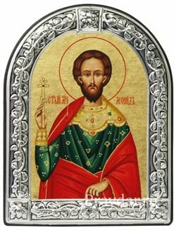 Леонид Святой мученик, икона с серебряной рамкой - фото 7005