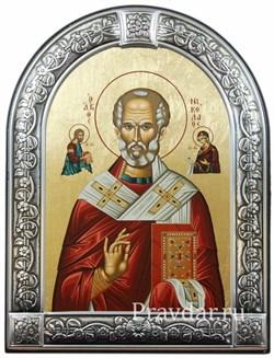 Николай Чудотворец, икона с серебряной рамкой - фото 7013