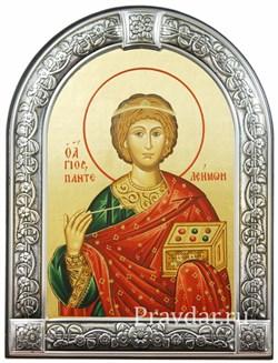 Пантелеймон целитель, икона с серебряной рамкой - фото 7015