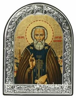 Сергий Радонежский преподобный, икона с серебряной рамкой - фото 7021