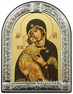 Владимирская Божья Матерь, икона с серебряной рамкой - фото 7029