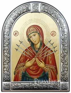 Семистрельная образ Божьей Матери, икона с серебряной рамкой - фото 7033