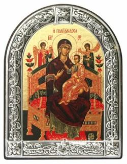 Всецарица образ Божьей Матери, икона с серебряной рамкой - фото 7035