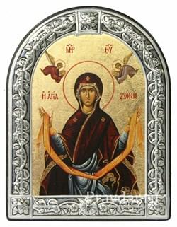 Покров Пресвятой Богородицы, икона с серебряной рамкой - фото 7037