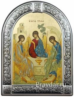 Святая Троица, икона с серебряной рамкой - фото 7039