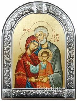 Святое Семейство, икона с серебряной рамкой - фото 7041