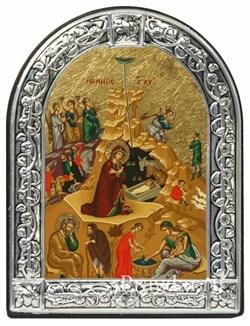 Рождество Христово, икона с серебряной рамкой - фото 7045