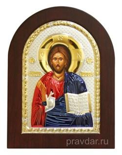 Спас Вседержитель, греческая икона с серебряным окладом с эмалью - фото 7124