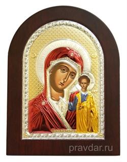 Казанская Божья Матерь, греческая икона с серебряным окладом - фото 7128