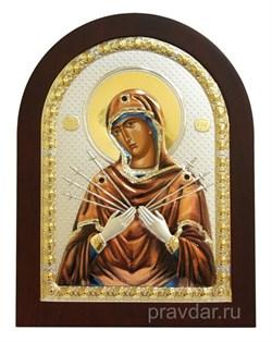 Семистрельная Божья Матерь, икона с серебряным окладом - фото 7144